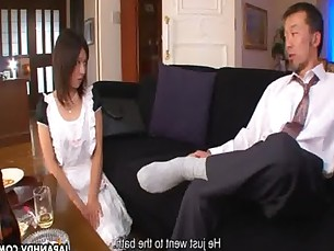 Asian maid gets fucked by the boys in a threeosme