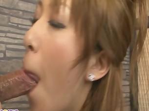 Asian babe Yurina humping her guy stiff boner
