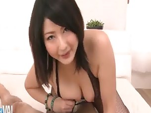 Fishnet clad Megumi Haruka rips her nets apart to finger her pretty shaved pussy