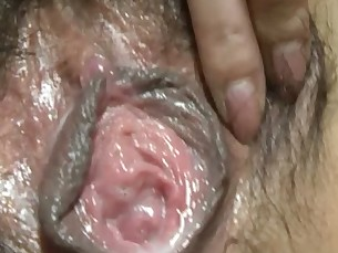 Raunchy Japanese maiden Ishiguros furry muff toyed then filled with hard dick