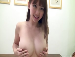 Busty, hot Japanese girl in playsuit &amp_ toys