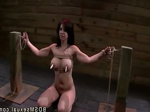 Busty Asian babe throat and pussy fucked in bdsm