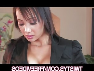 SEXY Asian brunette Katsumi rubs her wet pussy to orgasm