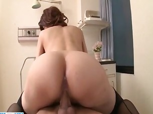 Japan nurse removes undies and goes wild on cock