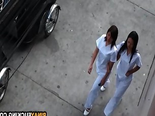 Asian Nurses Share A White Dick