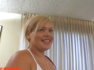 Sexy Chubby Blonde Asian BBC Threesome with Huge Facial  - abuserporn.com