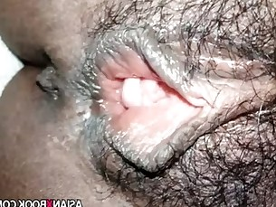 Hairy asian pussy close up fingering