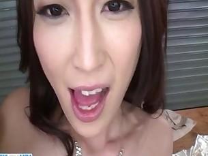 Sera Ichijo brunette Asian swallows after naughty trio