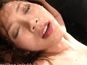 Asami Ogawa gets hot Asian bukkake