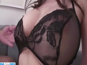 Busty milf removes lingerie to have rough sex