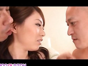 Japanese AV Model sucks dicks and is fucked