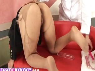 Kaede Oshiro gets panty in ass while is fucked and cum on face