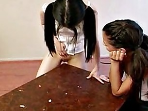 Petite teens found another use for their table