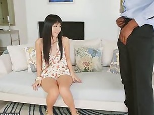 Petite Asian mouth fits big black cock deep throat