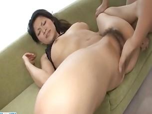 Ryo Sasaki receives pleasure from a huge dildo